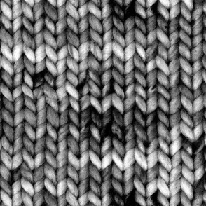 Chunky speckled stockinette stitch - high contrast black and white