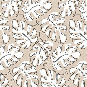 Monstera Continuous Line - White Beige_50Size