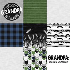 Grandpa//Mustache/Wheat Green&blue - Wholecloth Cheater Quilt