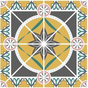 Large Ornate Tile, Yellow, Gray