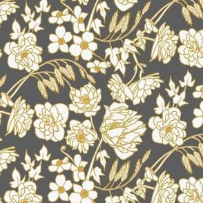 Farmhouse Floral, Charcoal, Yellow