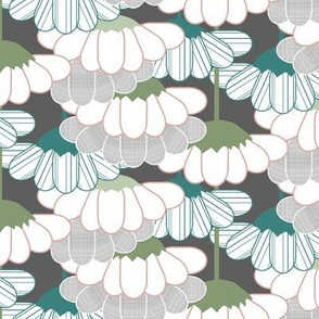 Spring Blossom Geo, Teal, Gray, Green