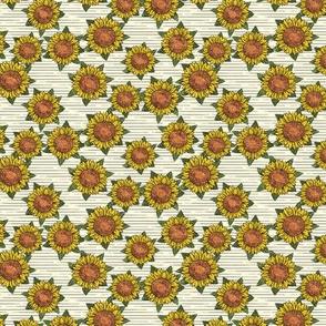 (small scale) sunflowers - summer flowers - linocut - OG stripes  - C20BS