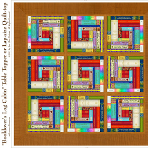 Booklover's Log Cabin Table Topper or Lap-size Quilt-top