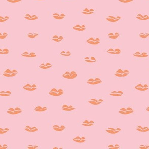 Kiss me messy lips paper cut style patten valentine's day print peach orange pink