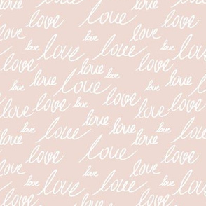 Love for lovers handwritten text for Valentine's day romantic typography script blush beige sand white
