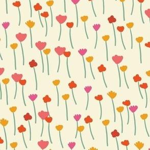 Meadow - Cream stick flowers