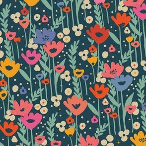 Meadow Flowers - Dark Blue - Green