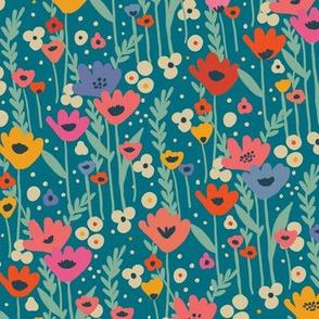 Meadow Flowers  - Teal
