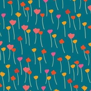 Teal Small Flowers - Meadow collection