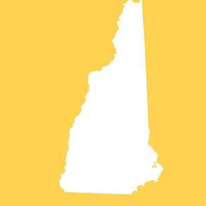 "New Hampshire silhouette, 14x18"" blocks, white on yellow"