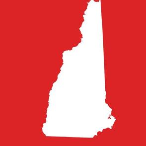 "New Hampshire silhouette, 14x18"" blocks, white on bright red"