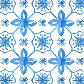 beautiful tile pattern in blue