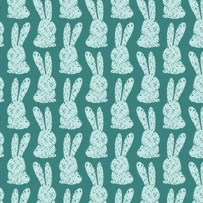 Easter Bunny Marshmallow Stamp, Teal