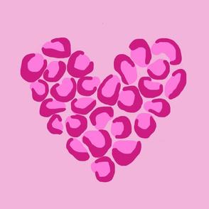Leopard heart - pink jumbo