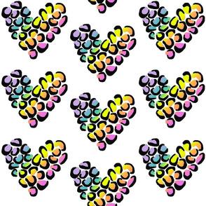 Leopard hearts - medium rainbow
