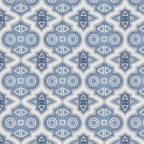 Silver Foil Geometric Moroccan Tile, Small Scale