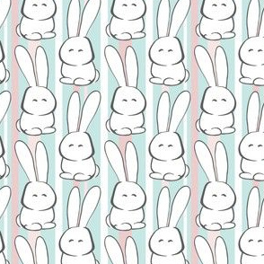 Easter Marshmallow Bunnies and Stripes, Pink, Teal