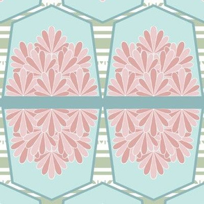 Small Bunting, Pentagon Flags, Pink, Teal