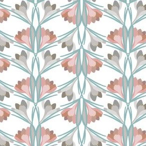Spring Crocus in Pink, Gray, Teal
