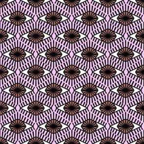 Geometric Brown Evil Eyes - medium millennial pink