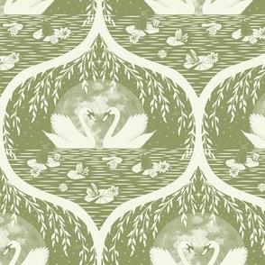 Swans in the lake monochrom sage by DEINKI