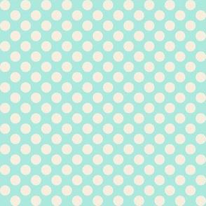 Retro Summer Geometrics beige dots on turquoise background