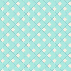 Retro Summer Geometrics squares on turquoise background