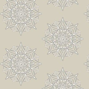 Frosted Spiky Stars on Dove Grey