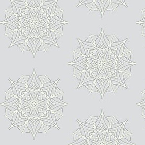 Frosted Spiky Stars on Silver Mist