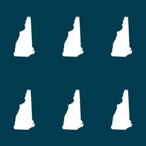 "New Hampshire silhouette, 6x9"" blocks, white on navy"