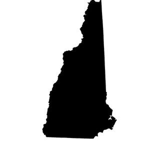 "New Hampshire silhouette, 14x18"" blocks, black and white"