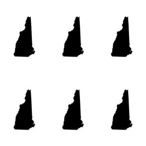 "New Hampshire silhouette, 6x9"" blocks, black and white"