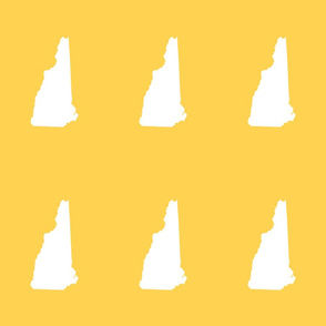 "New Hampshire silhouette, 6x9"" blocks, white on yellow gold"