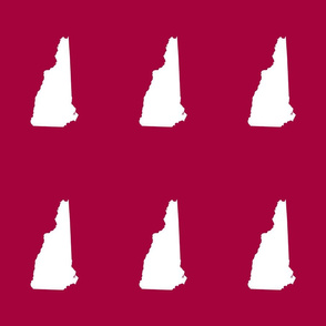"""New Hampshire silhouette, 6x9"""" blocks, white on cranberry red"""