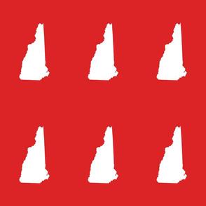 "New Hampshire silhouette, 6x9"" blocks, white on bright red"