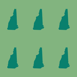 """New Hampshire silhouette, 6x9"""" blocks, green on green-gold"""