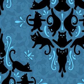 Black Cat Yoga Damask