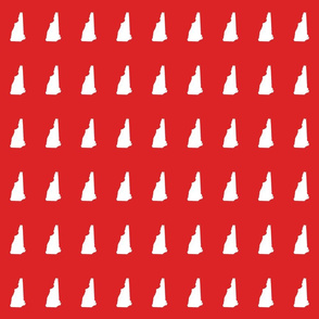 "New Hampshire silhouette, 2x3"" blocks, white on bright red"