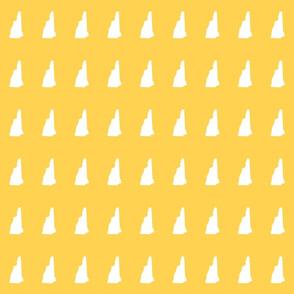 "New Hampshire silhouette, 2x3"" blocks, white on yellow gold"