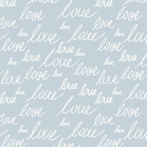 Love for lovers handwritten text for Valentine's day romantic typography script cool blue white
