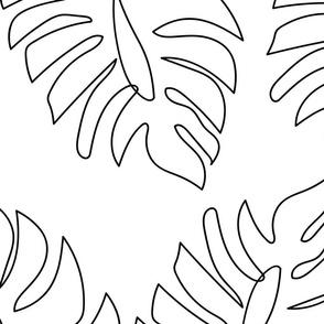 Large Single Line Monstera Leaves