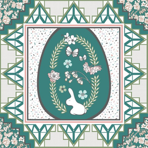 Easter Quilt Squares in Teal