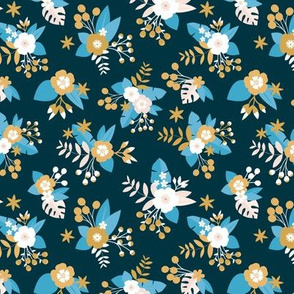 Romantic rose and daisy garden spring flower boho vintage english liberty london style blossom navy blue ochre mustard