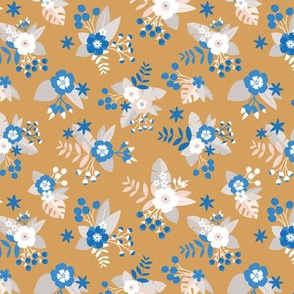 Romantic rose and daisy garden spring flower boho vintage english liberty london style blossom ochre yellow blue white