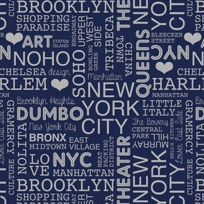 New York City pastel lovers typography pattern night navy blue gray
