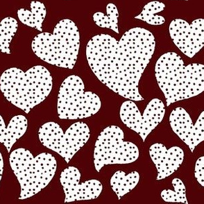 Dottie Hearts // White on Aggie Red