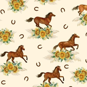 Horses and sunflowers