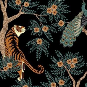 tiger and peacock black (large scale)
