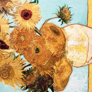 Van Gogh tea towel // Vase with 12 Sunflowers